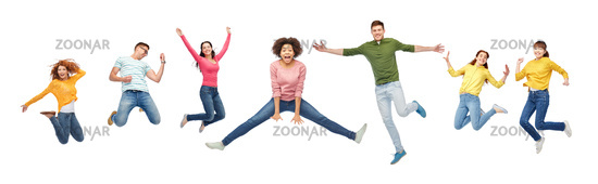 happy people or friends jumping in air over white