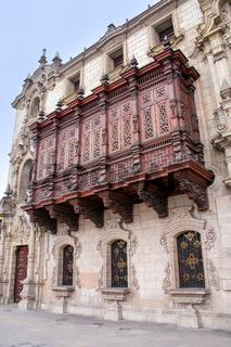Archbishop's Palace on Plaza Mayor in Lima, Peru.