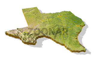 Texas, 3D relief map cut-out.