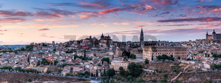 Wide panorama of sunset over Toledo,Spain