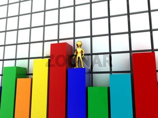 Men on top of success. Conceptual image. 3d