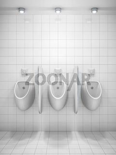 a white public restroom with three urinals