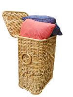 Two Cushions in a cane Hamper