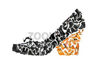 Woman shoe shape made from other shoes