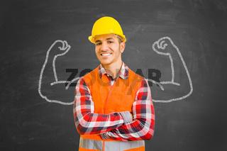 Selbstbewusster Bauarbeiter mit Muskeln aus Kreide