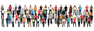 Junge Leute Menschen People Gruppe Menschengruppe multikulturell in einer Reihe Hintergrund