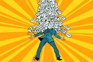 businessman and bureaucracy, a mountain of paperwork