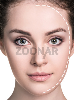 Beautiful woman face with correction line.
