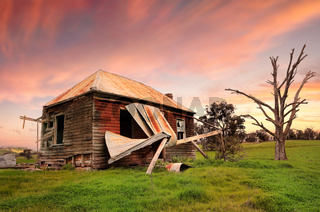 Abandoned dilapidated farm house
