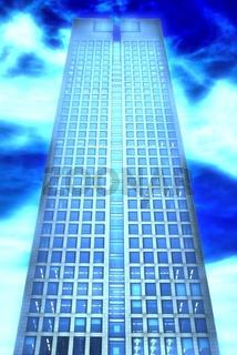 Bürohochhaus vor blauem Himmel