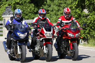 Drei Motorräder, Suzuki Honda, Yamaha