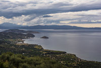 Panoramic view of traditional fishing village of Mochlos, Crete, Greece