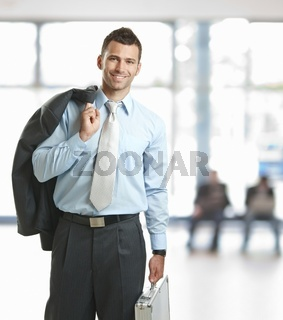 Businessman leaving office