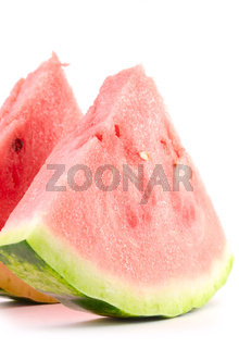 two watermelon slices isolated on white