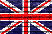 flag of UK painted on brick wall