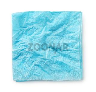 Blue crumpled paper napkin