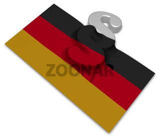 paragraph symbol und deutsche flagge - 3d illustration