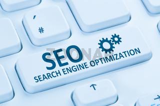 SEO Search Engine Optimization Suchmaschinenoptimierung Internet blau Computer Tastatur