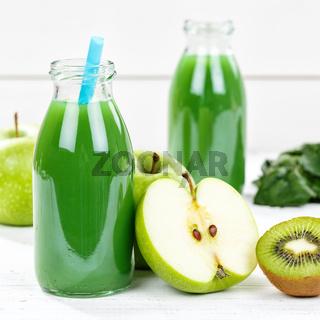Grüner Smoothie Saft Apfel grün Kiwi Spinat Quadrat Fruchtsaft Frucht Früchte
