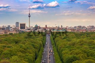Berlin city skyline and Tiergarten, Berlin, Germany