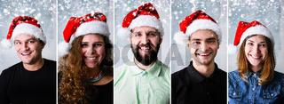 People wearing Santa hat