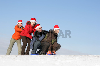 Friends to drive in sled