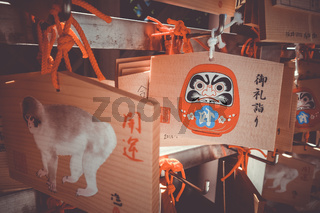 Traditional Emas in a temple, Tokyo, Japan