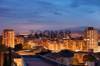 Girona city twilight cityscape
