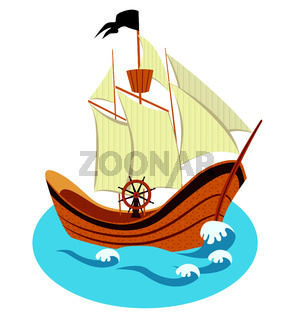 Sailing ship vector illustration isolated on a white background.