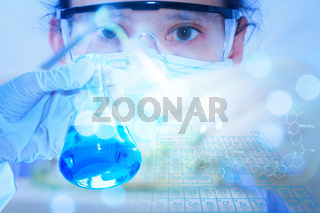 scientist with equipment and science experiments ,Laboratory glassware containing chemical liquid, science research,science background and science concept.