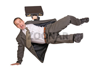 businessman jump over