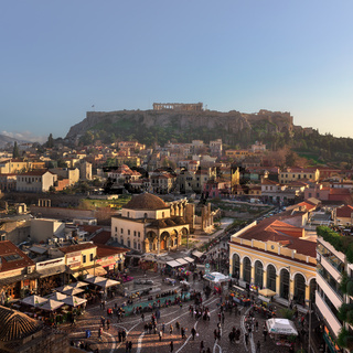 Aerial View of Monastiraki Square and Acropolis in the Evening, Athens, Greece