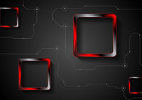 Technology background with lines and red glossy squares