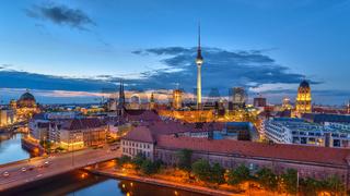 Berlin panorama city skyline when sunset at Spree River, Berlin, Germany