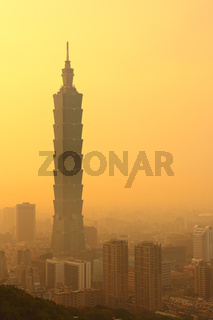 Taipei in mist at sunset time