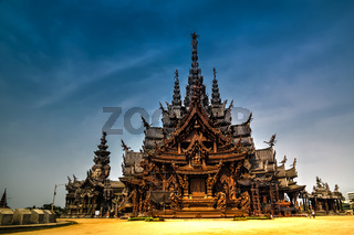 Exterior view Sanctuary of Truth in Pattaya Thailand