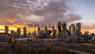 Calgary skyline at sunset