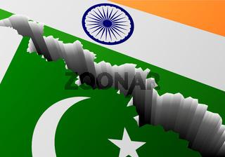 Flag Pakistan India Deep Crack