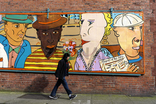 Street mural in the Pioneer Square district, Seattle, Washington, USA