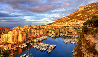 View of the Port Fontvieille on sunrise, Monaco, France
