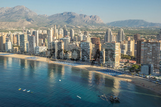 Coastline of a Benidorm. Aerial view of Benidorm, with beach and skyscrapers. Spain. Costa Blanca,