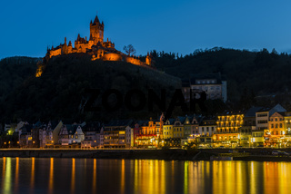 Cochem with Castle at the  Mossele at Night