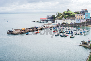 Aerial landscape view of Tenby harbor, Wales