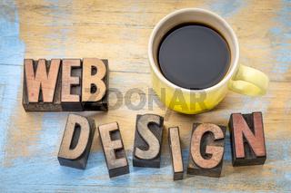website design word abstract in wood type