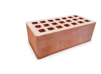 Modern new red aerated concrete brick isolated over white