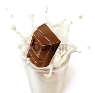 Chocolate block falling into a glass mug full of fresh milk
