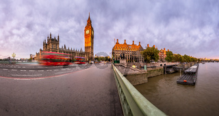Panorama of Queen Elizabeth Clock Tower and Westminster Palace in the Morning, London, United Kingdom