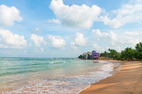Sandy coast beach and hotels with sea view