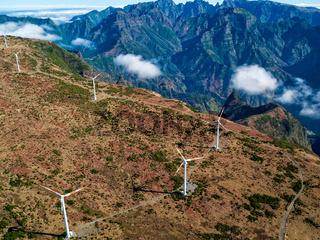 Wind Turbines on the Mountain Madeira Island