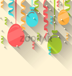 Easter background with colorful eggs and serpentine, trendy flat
